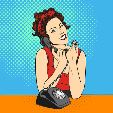 call centre girl: Vector illustration of pop art beautiful young woman with telephone. Retro Style. Happy woman talking or answers the phone.