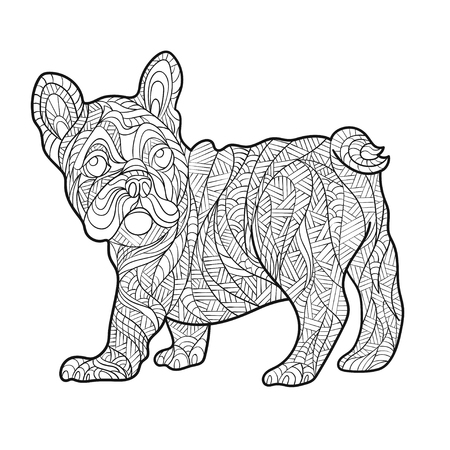 Vector monochrome hand drawn zentagle illustration of French bulldog. Coloring page with high details isolated on white background. Boho style. Design for T-shirt, greeting card or poster.