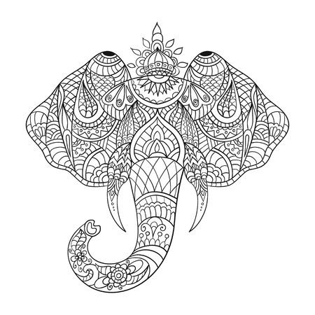 head to head: Vector monochrome hand drawn zentagle illustration an elephant head. Coloring page with high details isolated on white background.