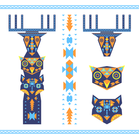 sign pole: Vector illustration of tribal totem with the heads of deer, owl and wolf, animal icons. Illustration