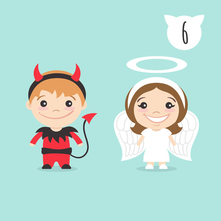 girl in red dress: Vector illustration of two happy cute kids characters. Boy in imp or little devil costume and a girl in angel costume.
