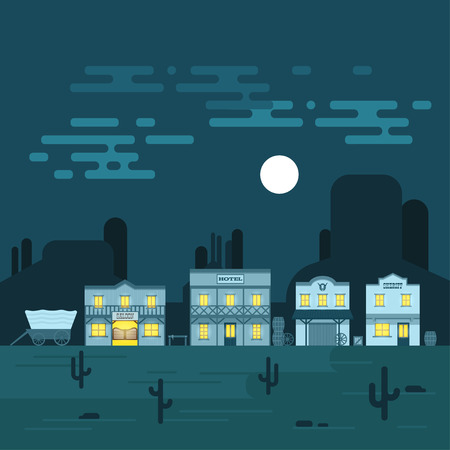 western town: Vector illustration of an old western town at night. Saloon, hotel and other detailed buildings and objects. Wild West desert landscape background.