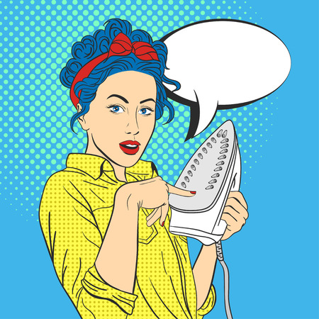 Vector illustration of pop art beautiful young surprised woman with iron. Retro Style. Woman touches hot iron with her finger. Empty