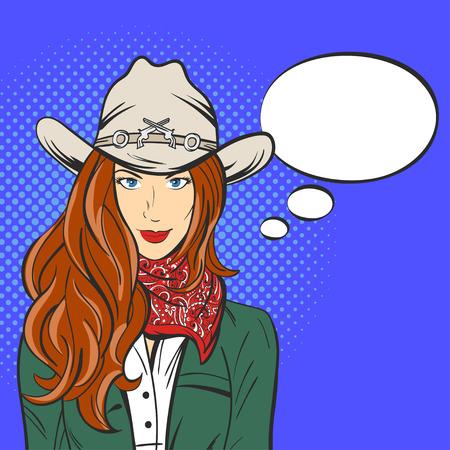 Ilustración del vector de la muchacha bonita joven en el sombrero de vaquero. estilo del arte pop. Salvaje oeste. burbuja de discurso vacío Ilustración de vector