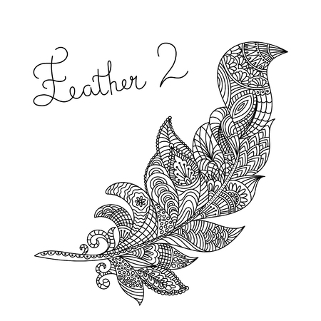 details: Vector monochrome hand drawn zentagle illustration of feather. Coloring page with high details isolated on white background. Illustration