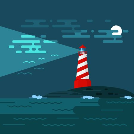 searchlight: Vector background with lighthouse, sea, waves an night. Searchlight tower in ocean. Dark night and moon in clouds. Birds in the sky. A lighthouse illuminates the sky, birds and clouds at night.