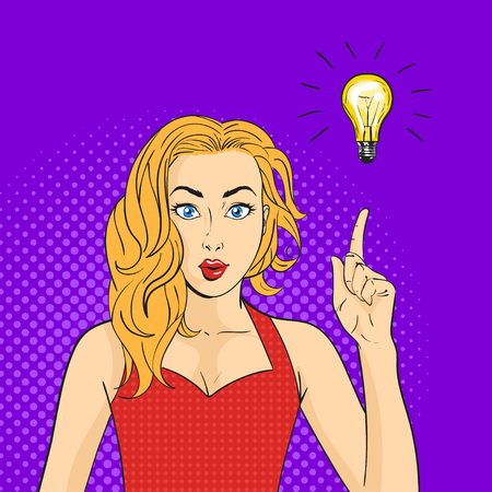 finger pointing up: Vector pop art surprised woman face. Hand with finger pointing up. Light bulb over the hand. Concept of creating new ideas or thoughts.