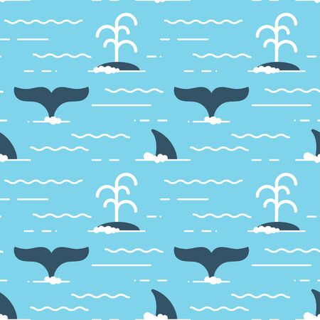 blue prints: Vector seamless pattern with whale fins over the water. Whale produces a stream of water while swimming.
