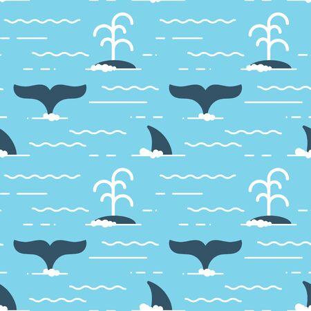 ballena azul: vector sin patrón con aletas de ballena sobre el agua. Ballena produce una corriente de agua durante la natación.