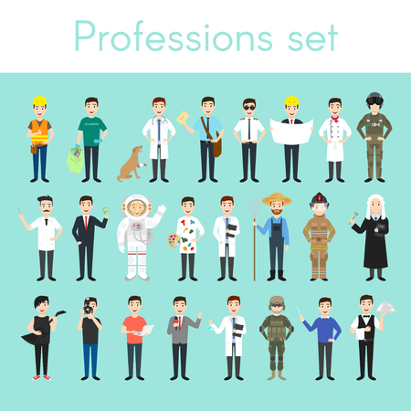 Vector set of different colorful man professions. Cartoon men characters. Doctor, volunteer, vet, firefighter, waiter, judge, programmer, artist, pilot, photographer, barber, astronaut, businessman.