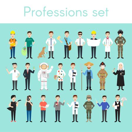 piloto: Conjunto de vectores de diferentes profesiones hombre de colores. los hombres de personajes de dibujos animados. Médico, voluntarios, veterinario, bombero, camarero, juez, programador, artista, piloto, fotógrafo, peluquero, astronauta, hombre de negocios. Vectores