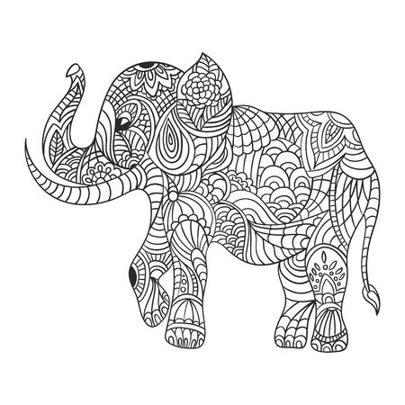 Vector Colorido Dibujado A Mano Ilustración Zentagle De Un Elefante ...