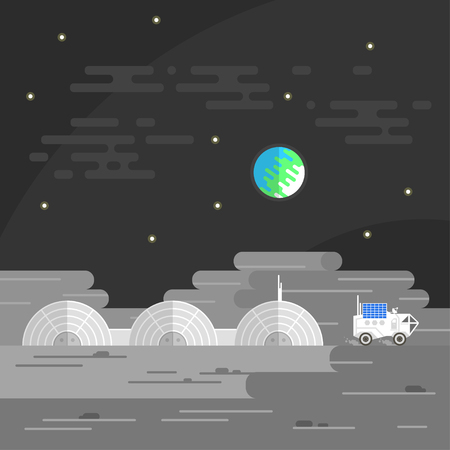 rover: Vector illustration of human base on Moon.