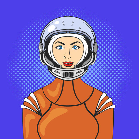 space suit: Vector illustration of pop art beautiful young woman in astronaut helmet and space suit.. Retro Style.