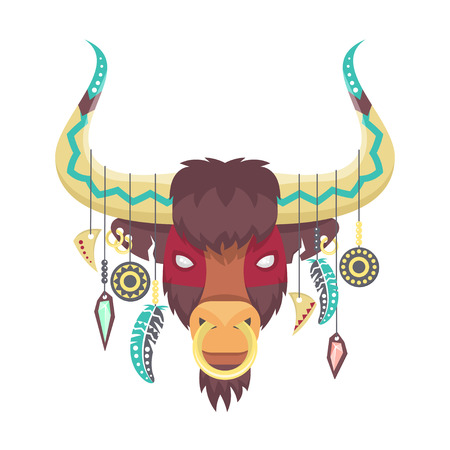 ox: Vector illustration of bull or ox in ethnic or tribal style. Animal totem. Bull print for t-shirt. Vector art. Bull head for poster. Illustration