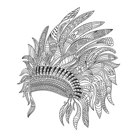 the details: Vector monochrome hand drawn zentagle illustration of Indian war bonnet. Coloring page with high details isolated on white background.