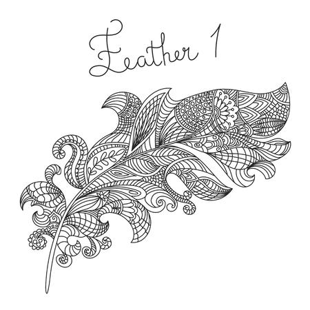 Kleurplaten Indianen Veren.Vector Zwart Wit Hand Getrokken Zentagle Illustratie Van Veren