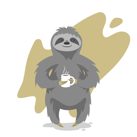 arboreal: Vector illustration of happy cute sloth with the cup of tea or coffee. Vector print for t-shirt design.