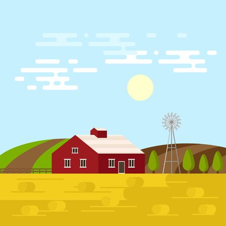 old barn: Vector illustration of the farm in a daytime. Farm or rural landscape background. Old barn, trees, field and hills.