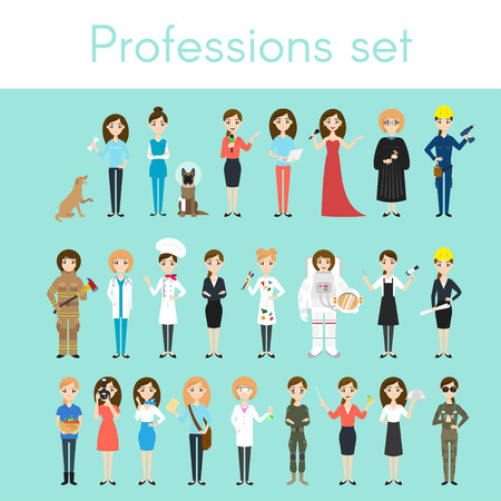 Vector set of different colorful woman professions. Cartoon women characters. Doctor, volunteer, firefighter, waiter, judge, programmer, artist, pilot, photographer, barber, astronaut, businesswoman.