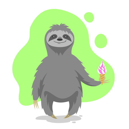cartoon ice cream: Vector illustration of happy cute sloth holding an ice cream in his hand. Vector print for t-shirt or poster design.