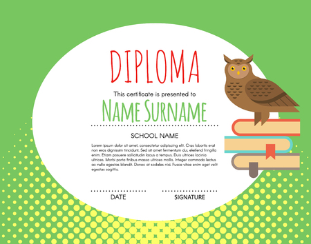 elementary kids: Vector Preschool Elementary Kids Diploma certificate background design template. School diploma. Owl as a symbol of knowledge is sitting on books.