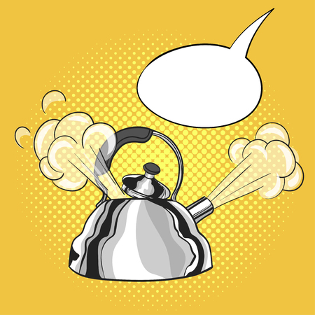 pulled out: Vector hand drawn pop art illustration of kettle with a steam pulled out from the lid. Empty speech bubble. Retro style. Hand drawn sign. Illustration for print, web.