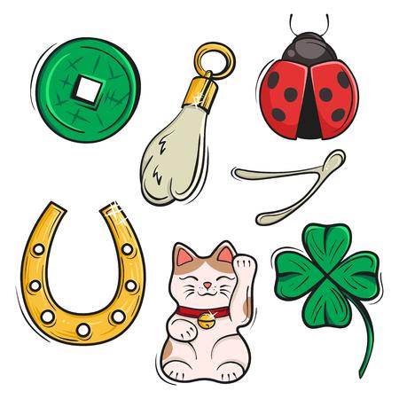 Vector set di portafortuna, simboli e talismani. Illustrazione vettoriale. Simboli di fortuna, prosperità e successo. Vettoriali