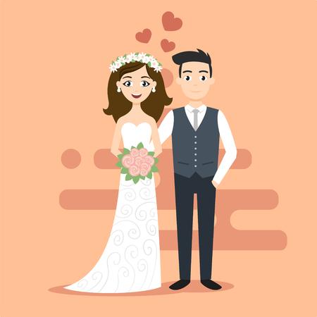 Vector illustration de la jeune mariée les jeunes mariés heureux et marié. Just married couple. Illustration pour l'impression, le web.