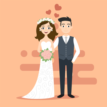 Vector illustration of young happy newlyweds bride and groom. Just married couple. Illustration for print, web.