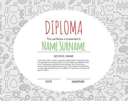 elementary kids: Vector Preschool Elementary Kids Diploma certificate background design template. School diploma.