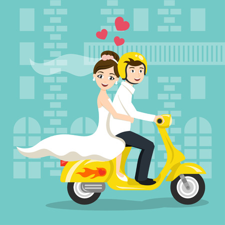 Vector illustration of young happy newlyweds bride and groom riding on scooter. Retro style transport, vintage looking moped. Honeymoon. Vector print for card or poster design. Vettoriali