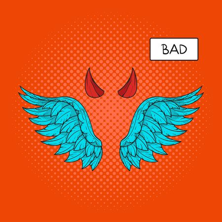 devil horns: Vector hand drawn pop art illustration of devil wings and devil horns at the top. Retro style. Hand drawn sign. Illustration for print, web.
