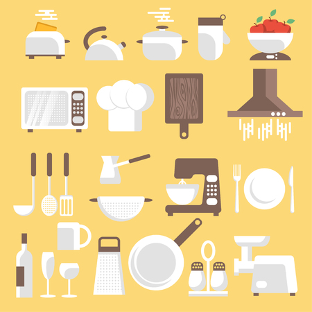 ware: Vector illustration of kitchen tools, ware and utensils. Flat style for web, analytics, graphic design.