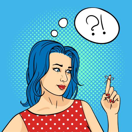 Vector illustration main pop art dessiné de jeune femme avec la chaîne de rappel sur le doigt. Style rétro. Pensez bulle. Hand drawn signe. Illustration pour l'impression, le web.