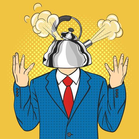 Vector mano pop disegnato illustrazione arte di uomo d'affari con il bollitore al posto della testa con un vapore tirato fuori dal lid.Concept di anger.Retro stile. A mano segno. Illustrazione per la stampa, il web.