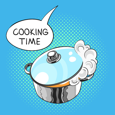 Vector hand drawn pop art illustration of pan with a steam pulled out from the glass lid. Speech bubble with the words Cooking time in it. Retro style. Hand drawn sign. Illustration for print, web.