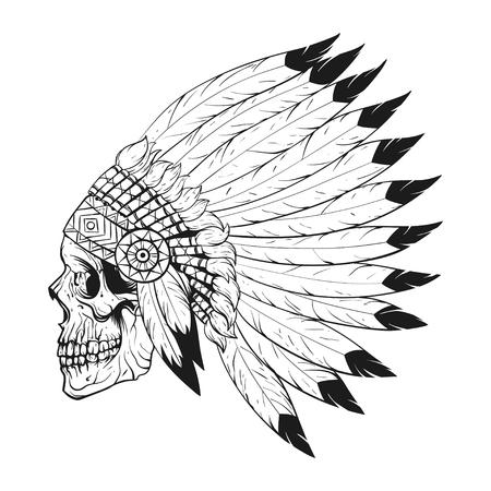 Vectorial blanco y negro ilustración de cráneo estilizado que lleva capo de la guerra americana nativa. Diseño para la camiseta o póster. Ilustración de vector
