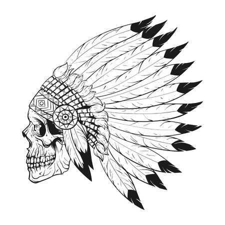 Vector monochrome illustration of stylized skull wearing native American war bonnet. Design for T-shirt or poster.