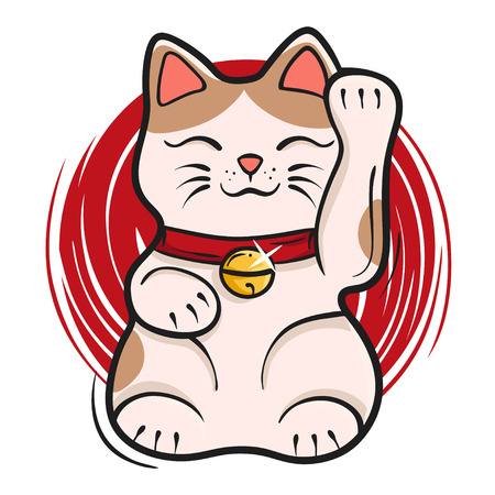 Vector illustration of maneki neko. Japanese lucky cat fortune symbol cartoon kitty toy. Symbol of luck, prosperity and success. Stock Illustratie