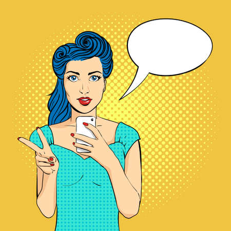 woman mouth open: Vector pop art woman face with open mouth holding a phone in her hands. Victory gesture. Retro style. Illustration