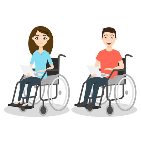 persona en silla de ruedas: Ilustración vectorial de dos hombres y una mujer en silla de ruedas sosteniendo portátiles.