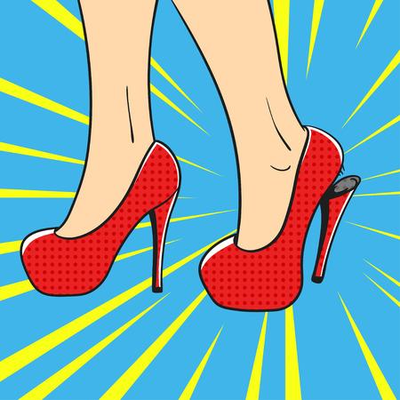 calcanhares: Vector hand drawn pop art illustration of an elegant woman shoes. High heels pump shoes. Broken Heel. Retro style. Hand drawn sign. Illustration for print, web. Ilustração
