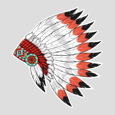 Vector bunte Illustration der amerikanischen Ureinwohner Kriegshaube. Design for T-Shirt oder ein Plakat.