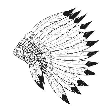 Vector monochrome illustration of native American war bonnet. Design for T-shirt or poster.