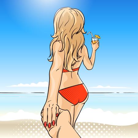 Vector Hand gezeichnet Pop-Art-Illustration der jungen Frau in der Schwimmenklage mit Fruchtcocktail. Folgen Sie mir zum Meer Illustration. Hintergrund für Print, Web. Standard-Bild - 56506276
