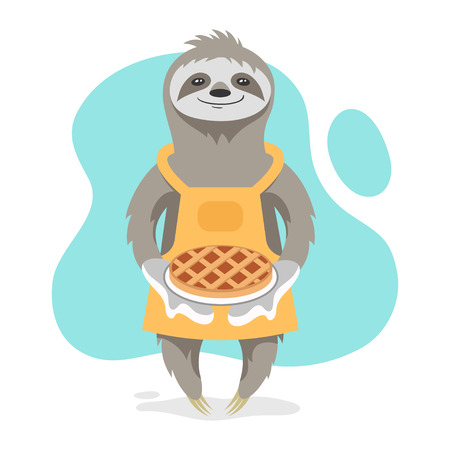 Vector illustration of happy cute sloth wearing kitchen apron and holding tasty pie in his hands. Vector print for t-shirt or poster design.