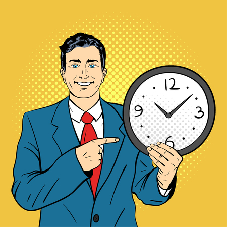 wall watch: Vector hand drawn pop art illustration of businessman holding wall watch in his hands and pointing on it. Retro style. Hand drawn sign. Illustration for print, web.