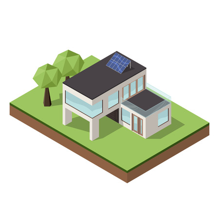 modern architecture: Vector illustration of isometric large private modern cottage or house for real estate brochures or web icon. Modern architecture concept.