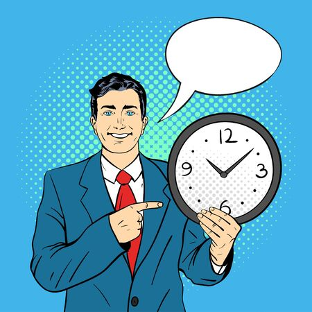 wall watch: Vector hand drawn pop art illustration of businessman holding wall watch in his hands and pointing on it. Empty speech bubble. Retro style. Hand drawn sign. Illustration for print, web